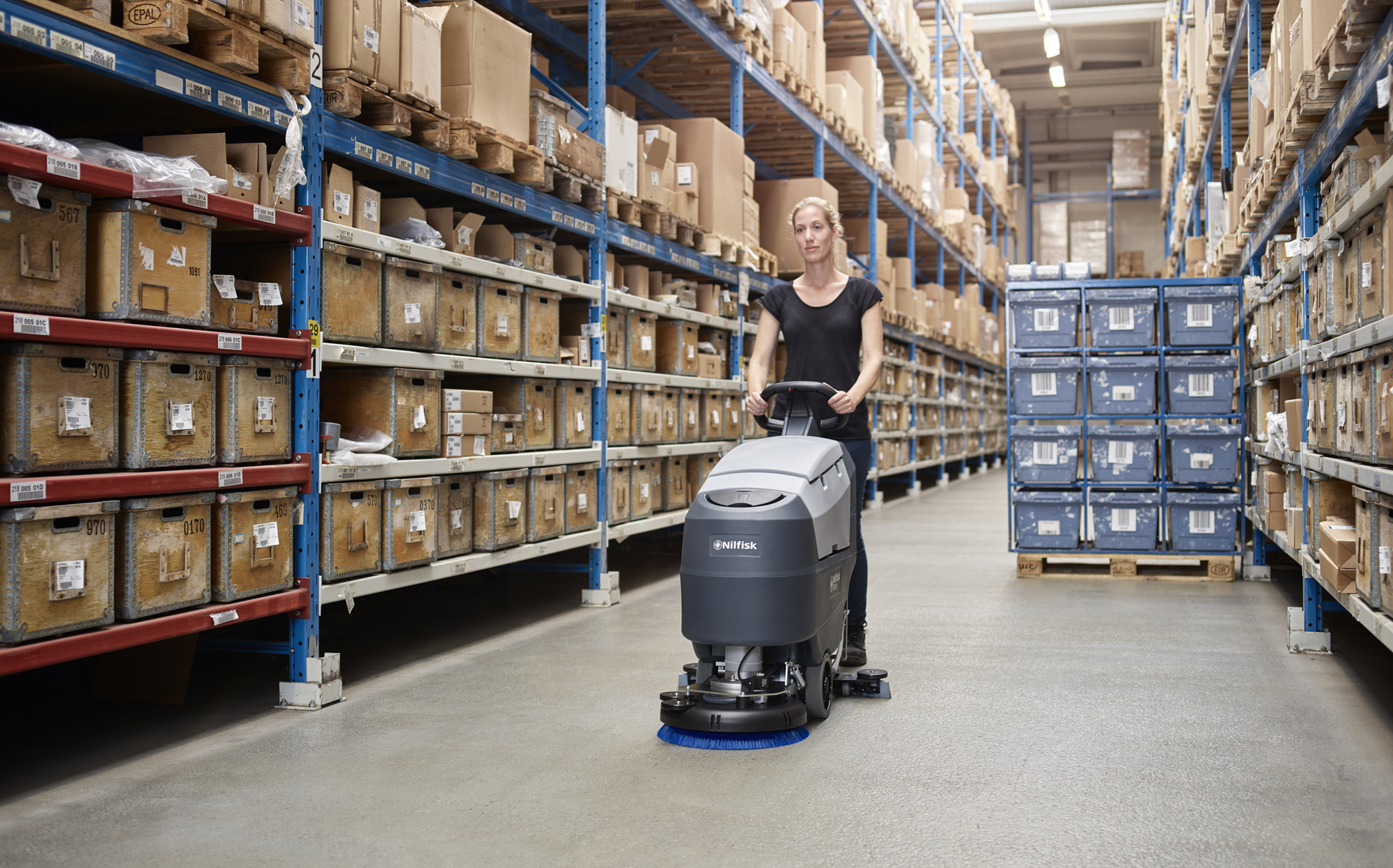 Product, Floor cleaning, Scrubber dryers, Walk-behind scrubber and dryers, Small walk-behind scrubber and dryers, Nilfisk, SCRUBBER SC B FULL PKG